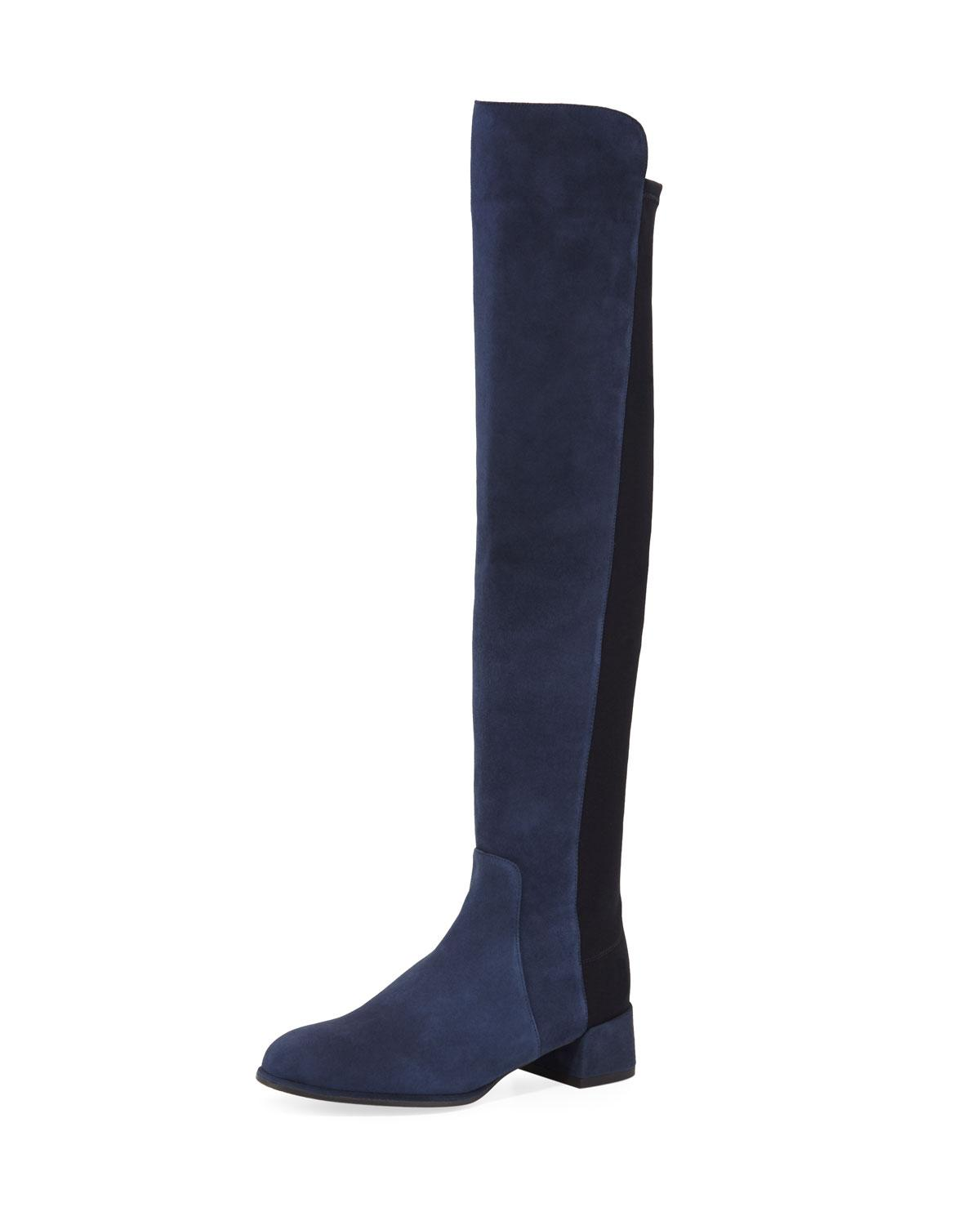 Stuart Weitzman Fifo Suede Stretch Over-The-Knee Boot In Blue