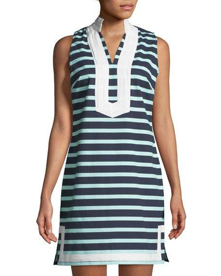 c3ef169769 Sail to Sable tunic dress in striped poplin with contrast trim. Approx.  34