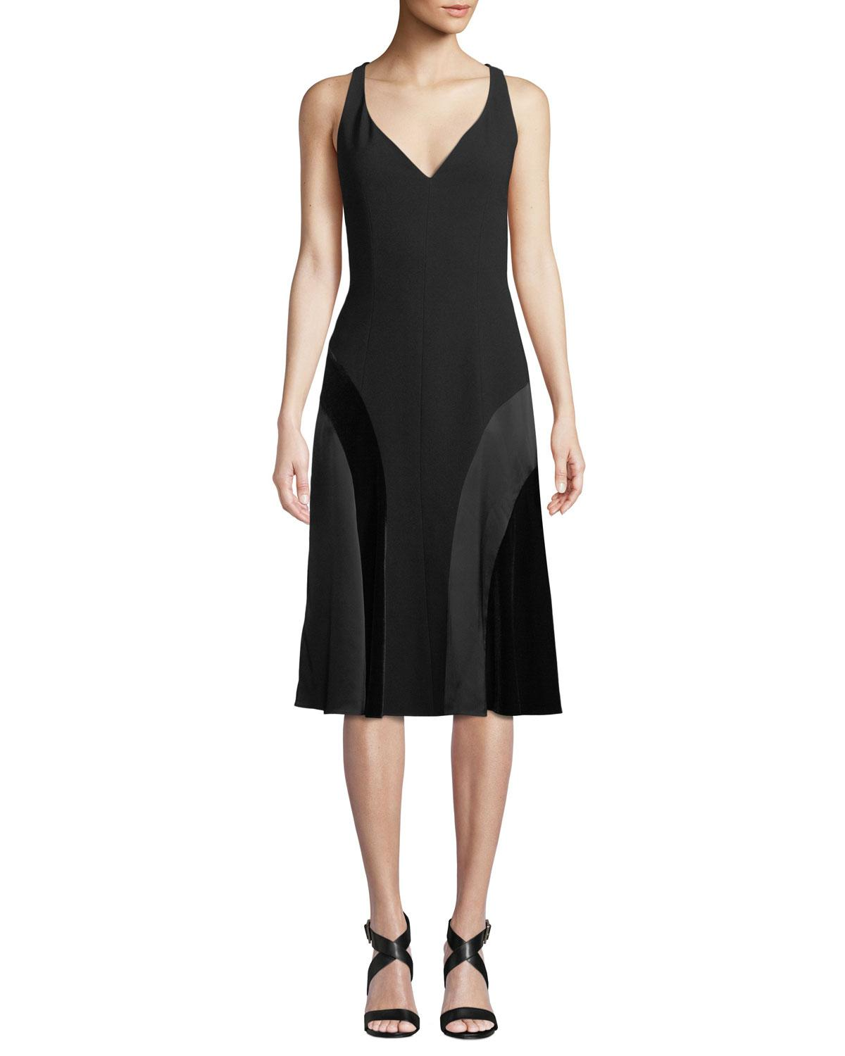 d9b49aee Elie Tahari Zaria Crepe Satin Panel Dress In Black | ModeSens