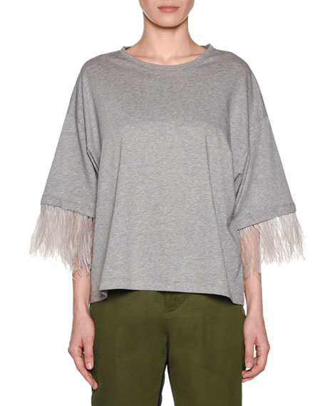 N°21 Feather-Sleeve Oversized Crewneck Tee In Gray
