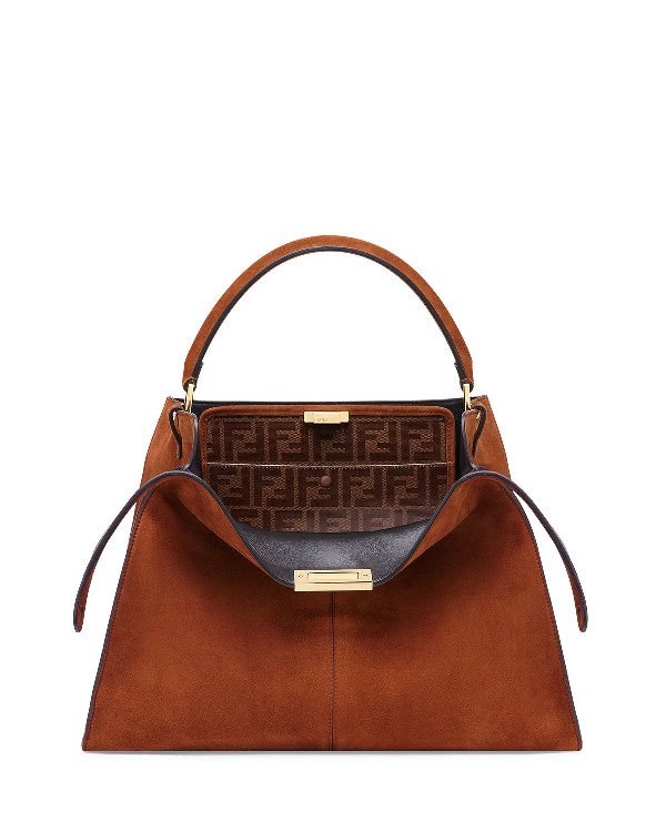 6540afce39a Fendi Peekaboo X-Lite Suede & Leather Satchel Bag In Camel | ModeSens