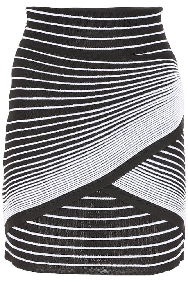 Balmain Wrap-Style Striped-Knit Mini Skirt In Black