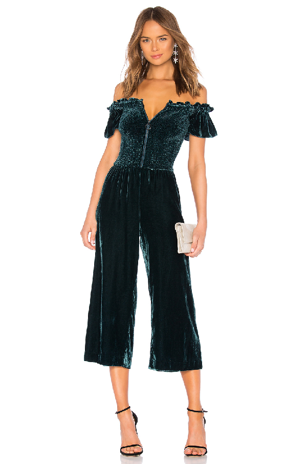 Parker Londyn Velvet Off-the-shoulder Crop Jumpsuit In Everglade