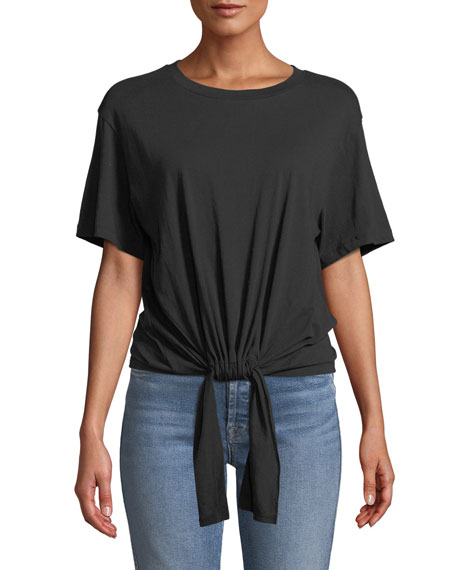 7 For All Mankind Tunnel-Front Crewneck Cotton Tee In Black