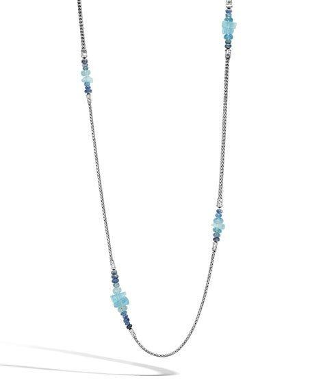John Hardy Sterling Silver Classic Chain Station Necklace With Aquamarine & Kyanite, 36
