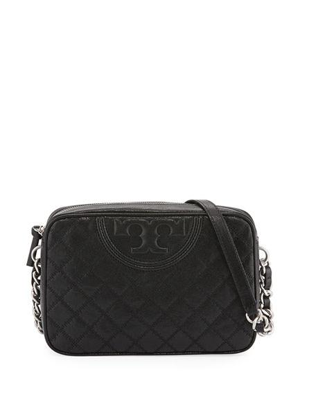 405704101015 FLEMING DISTRESSED LEATHER CROSSBODY CAMERA BAG. Tory Burch crossbody bag  in distressed quilted ...