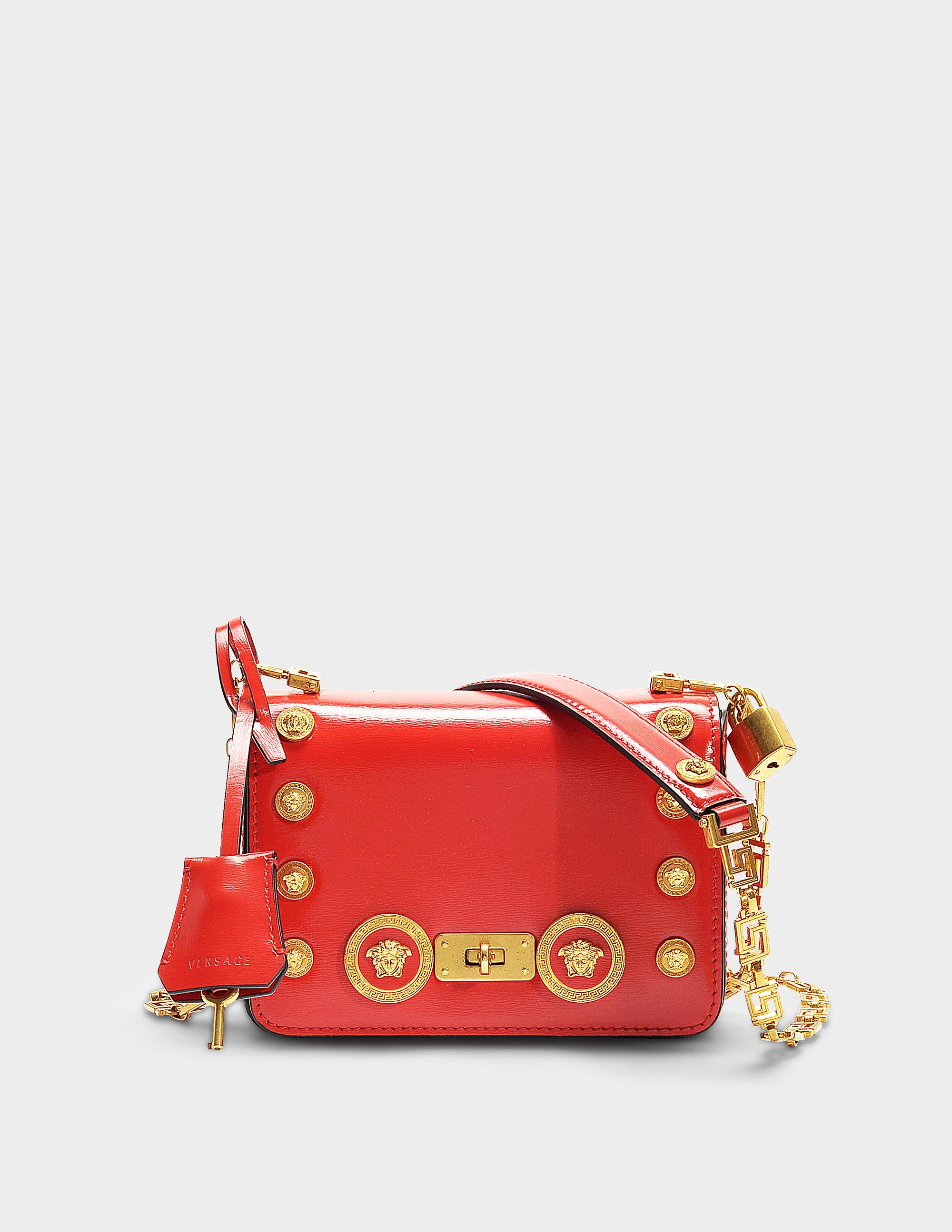 4732baa9a0 Versace | Icon Shoulder Bag With Medusa Studs In Red Calfskin