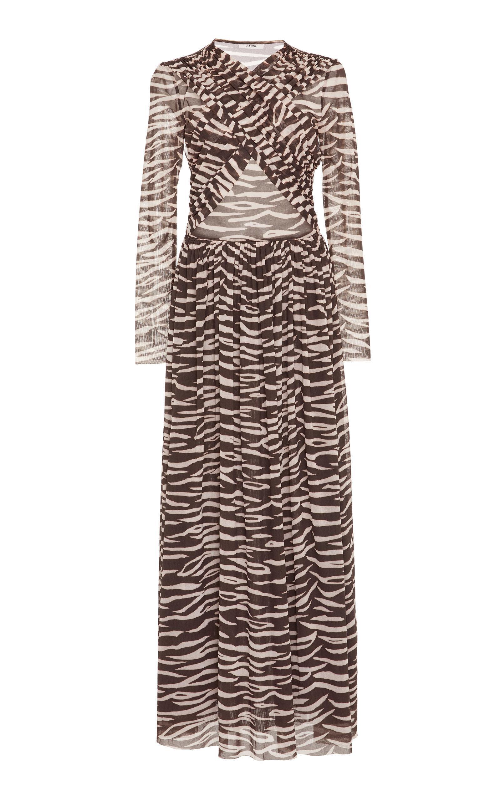 44468f07748 Ganni Tilden Zebra-Print Mesh Maxi Dress In Animal