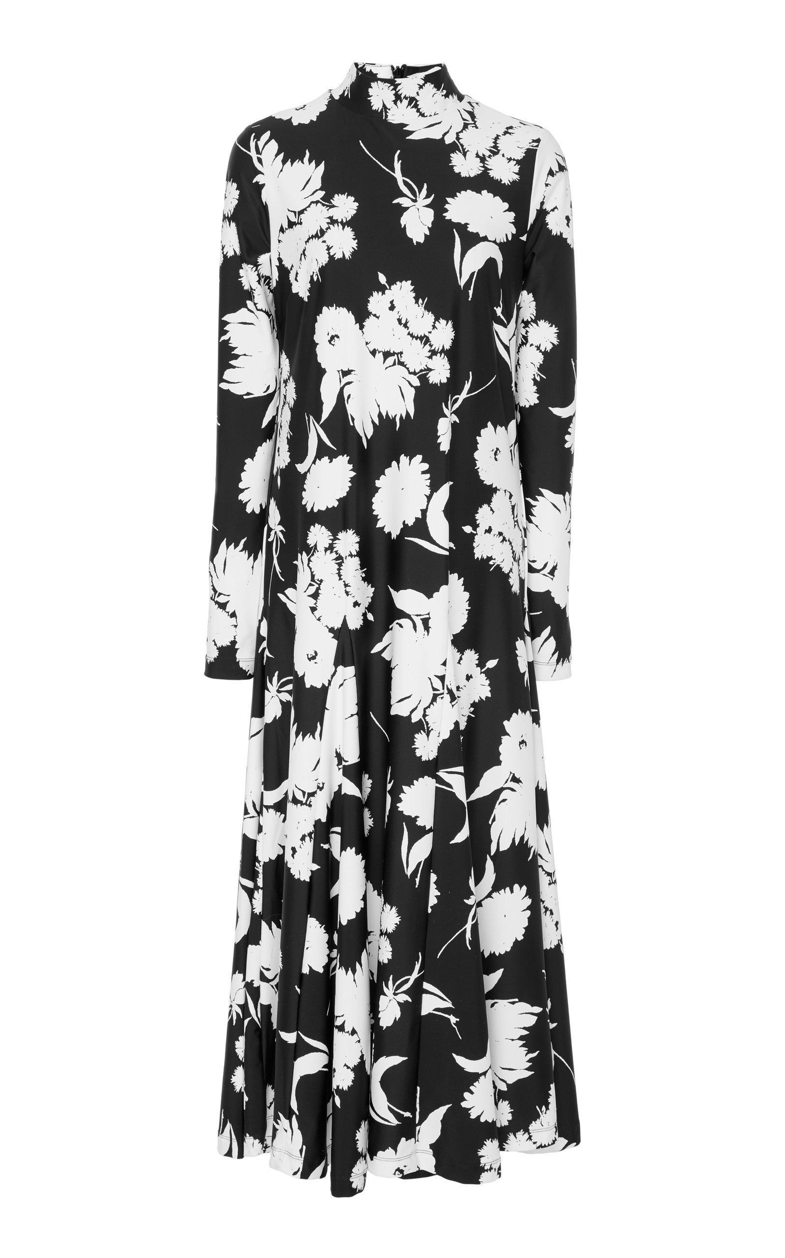 08ff2f7a Ganni Alameda Pleated Floral-Print Stretch-Knit Maxi Dress In Black ...