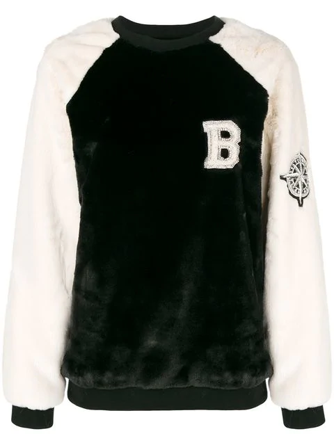 Balmain Furry Textured Jumper In Black