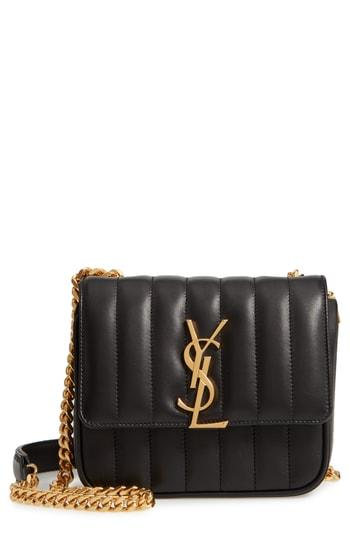 efada2737ea1 Saint Laurent Small Vicky Quilted Lambskin Leather Crossbody Bag - Black