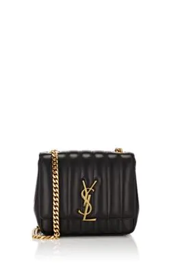 9ea305c58e Saint Laurent Vicky Monogram Ysl Small Quilted Leather Crossbody Bag In  Black