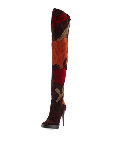 Burberry Allison Patchwork Over-The-Knee Boot, Oxblood In Oxblood/Anti Garn