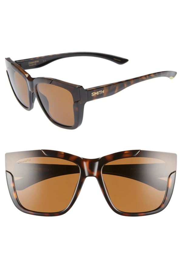 Smith Dreamline 62mm Oversize Butterfly Chromapop(tm) Polarized Sunglasses In Tortoise/ Brown