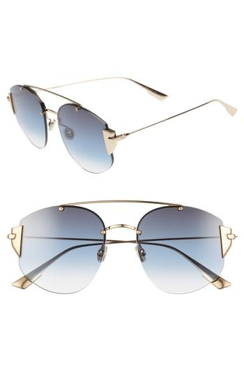 1febc2f9ce1 Dior Stronger 58Mm Rounded Aviator Sunglasses - Rose Gold  Blue ...