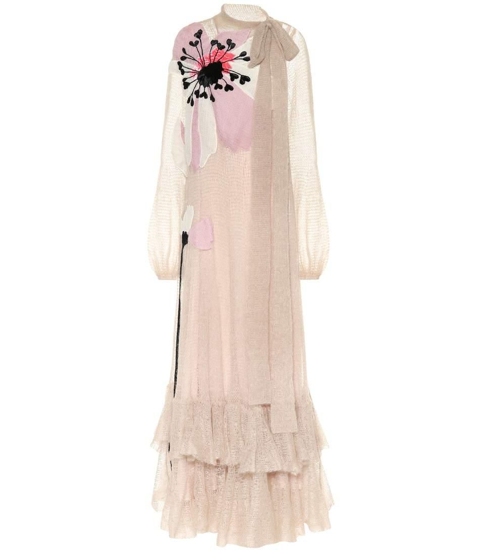 Valentino Embellished Mohair-Blend Gown In Pink