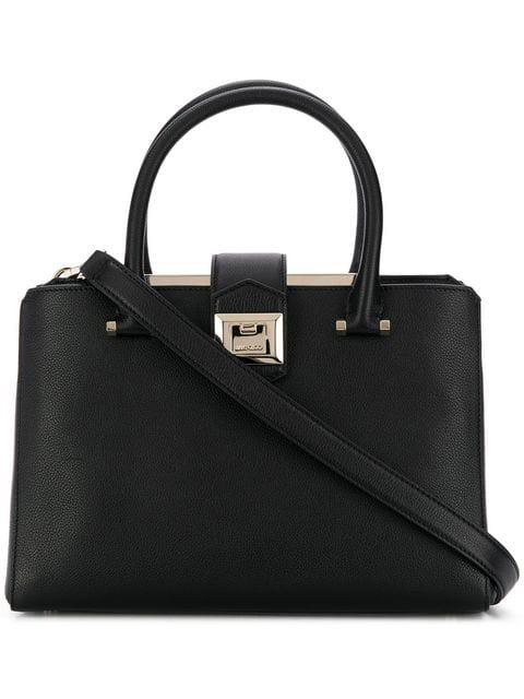 Jimmy Choo Marianne/S Black Grainy Calf Leather Tote Bag