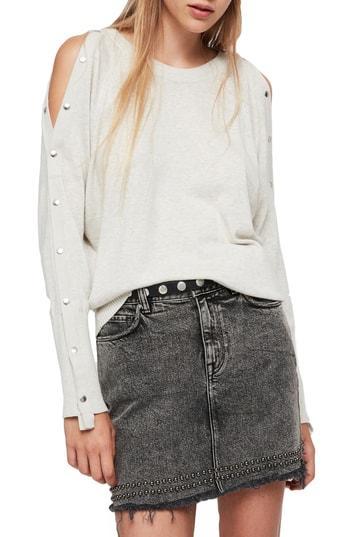 250fe88d68f Allsaints Suzie Snap Sleeve Sweater In Silver Grey