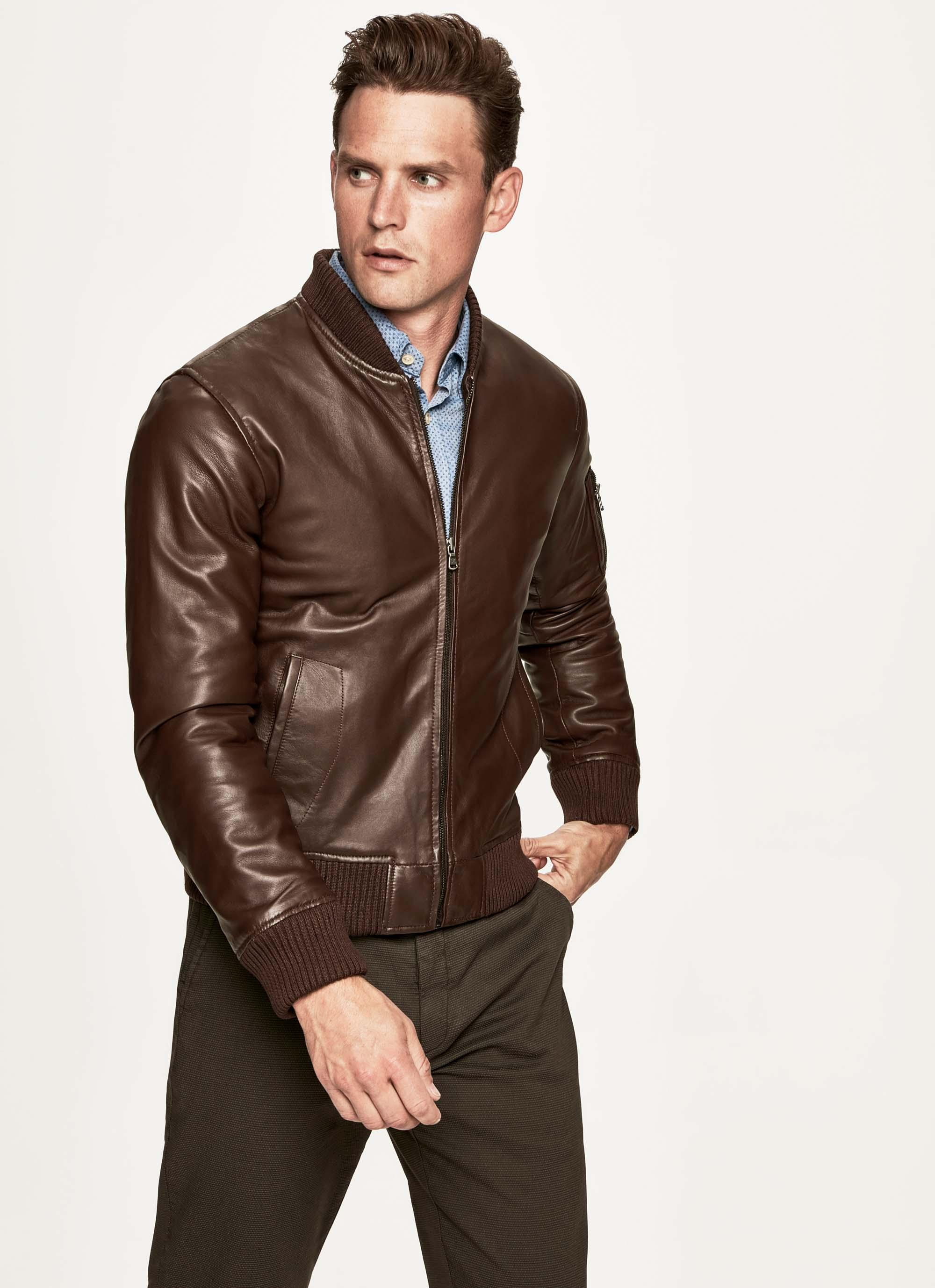 2019 hot sale modern style pretty nice Hackett Nappa Leather Bomber Jacket In Brown | ModeSens