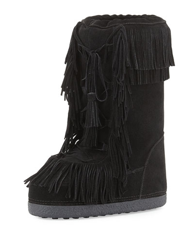 Aquazzura Woman Boho Karlie Fringed Shearling-Lined Suede Boots Black