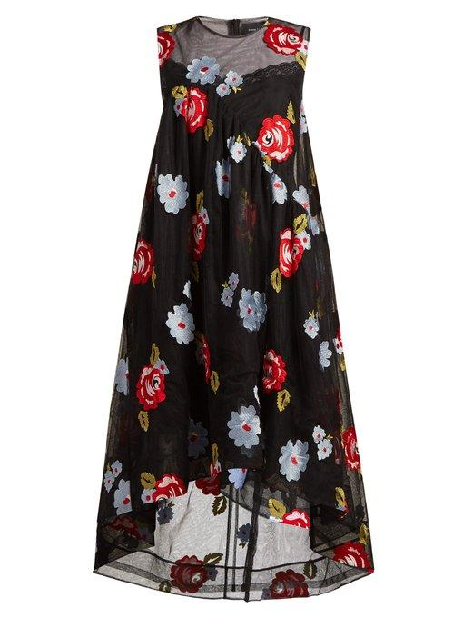 Simone Rocha Floral-Embroidered A-Line Tulle Dress In Black Multi