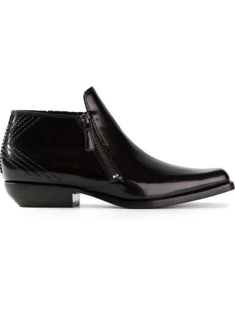 Kenzo Polished Ankle Boots In Black
