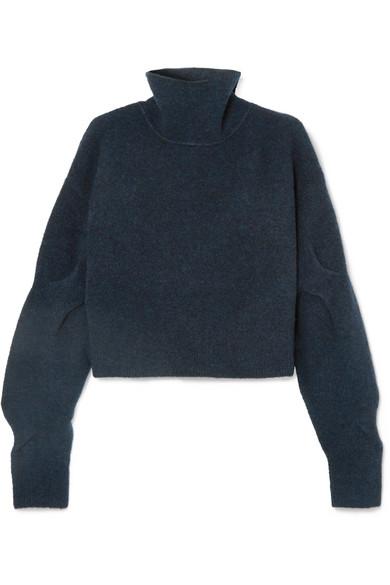 2fd27e26f10 Cropped Wool-Blend Turtleneck Sweater in Petrol