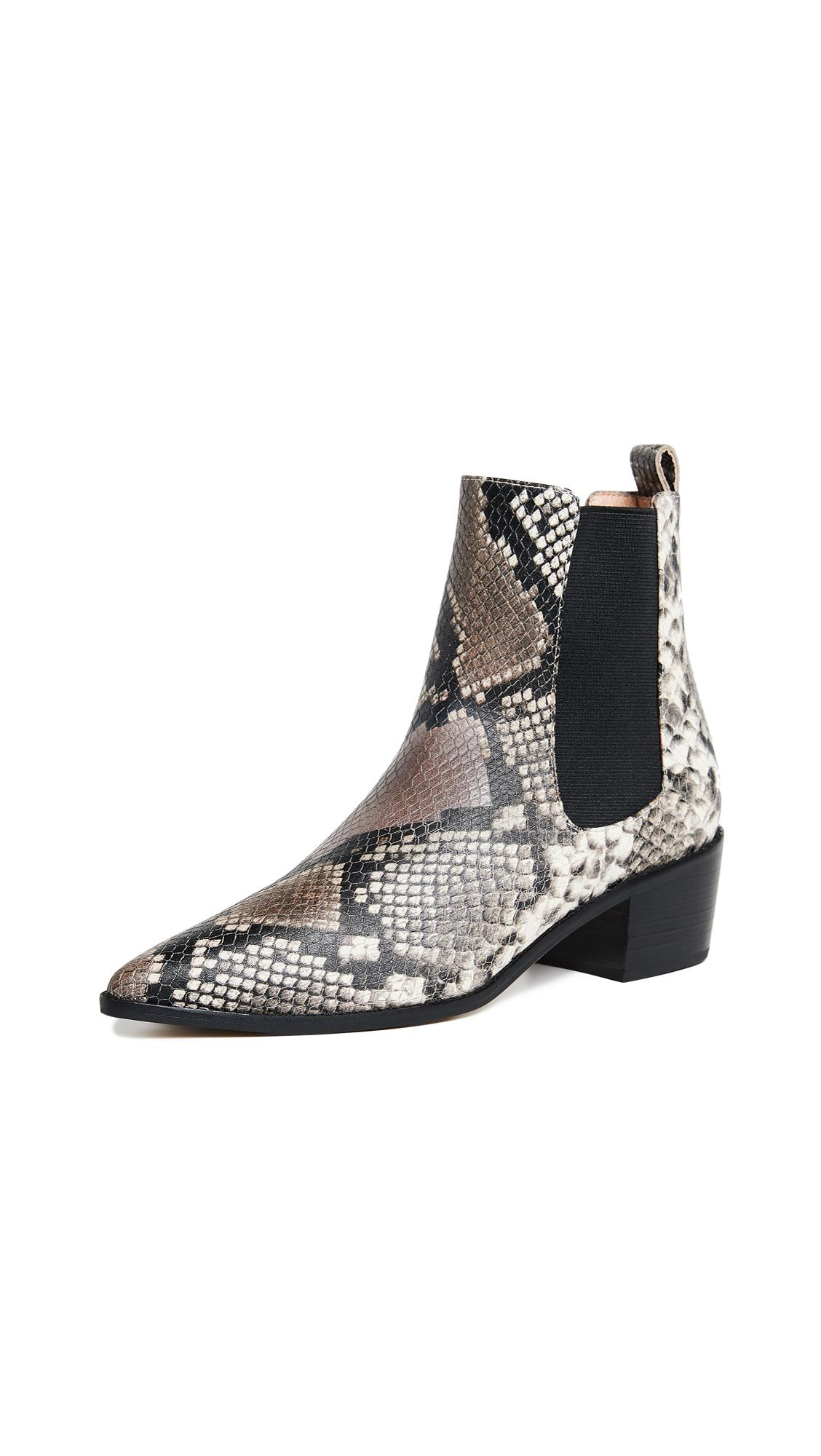 1ab63dd6a76 Matiko Jillian Point Toe Booties In Natural Python Printed Snake ...