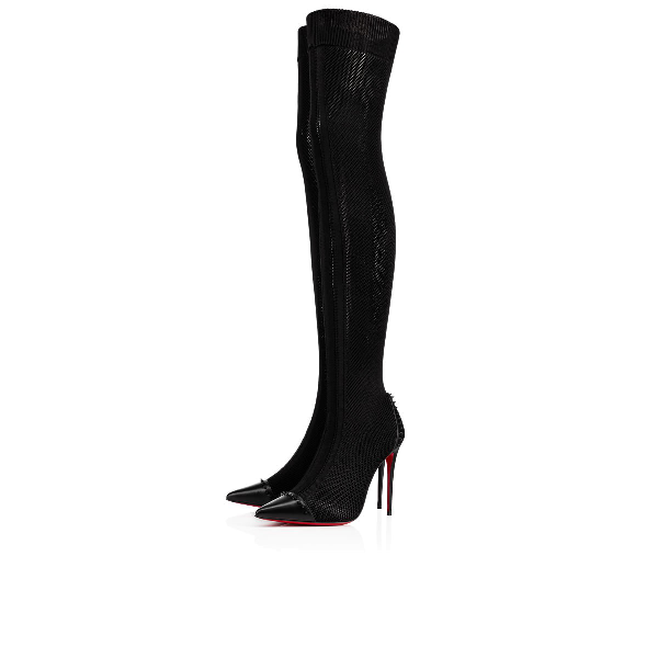 02f1f9d096b Souricette Spiked Tall Sock Red Sole Boot, Black, Black