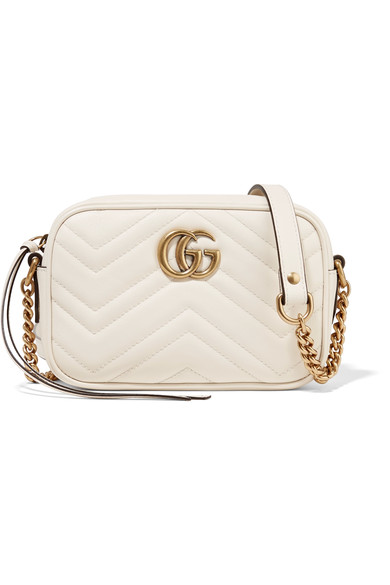 7026b3e18500 Gucci Gg Marmont Camera Mini Quilted Leather Shoulder Bag In White ...