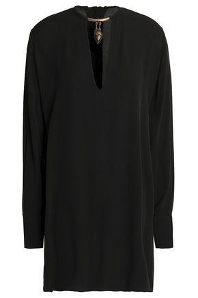 Valentino Woman Embellished Silk-Crepe Blouse Black