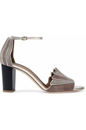 Malone Souliers Woman Connie City Metallic Leather-Trimmed Two-Tone Suede Sandals Mushroom