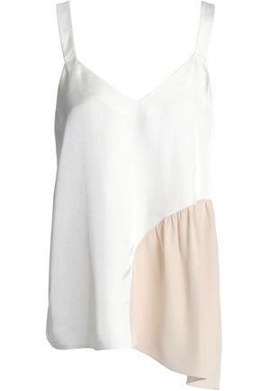 Tibi Woman Two-Tone Crepe De Chine-Paneled Twill Camisole White