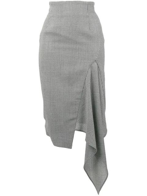 Off-white Asymmetric Houndstooth Wool Skirt In Black