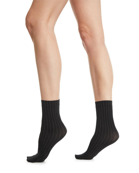 e9ee721affb Wolford Muriel Pinstriped Ankle Socks In Black White