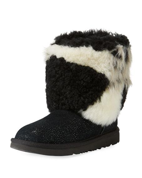 b783aee5440 Classic Short Patchwork Fluff & Glitter Boot, Toddler in Black