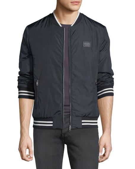 Dolce & Gabbana Men's Nylon Track Jacket In Navy