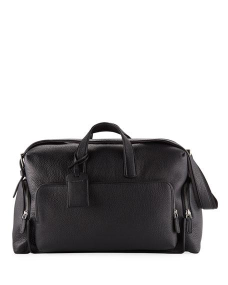 f9ce9716c Giorgio Armani Men's Tumbled Calf-Leather Carryall Duffel Bag In Black