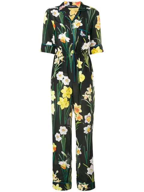 Dolce & Gabbana Daffodil-print Silk Jumpsuit In Hns51 Multicolor