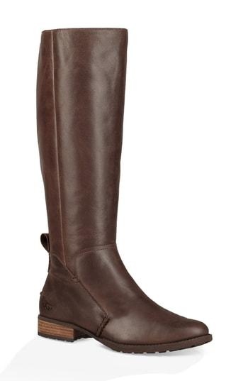 f063c932a4a Ugg Leigh Knee High Riding Boot in Dark Brown Leather