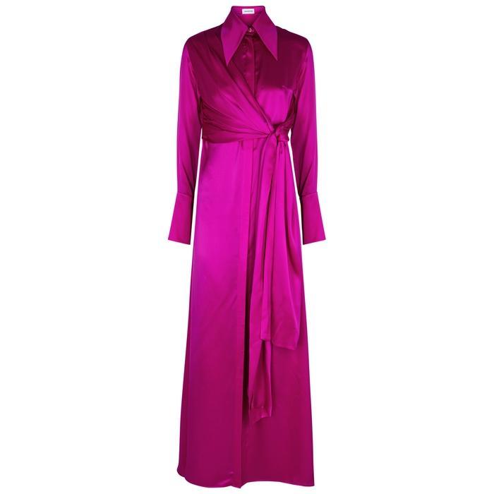 010f2220425be 16 Arlington Fuchsia Silk Satin Maxi Dress In Pink