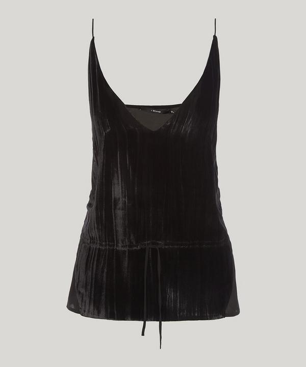 J Brand Lucy Velvet-front Camisole Top In Black