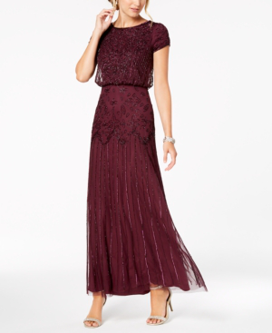 Adrianna Papell Petite Beaded Blouson Gown In Cassis