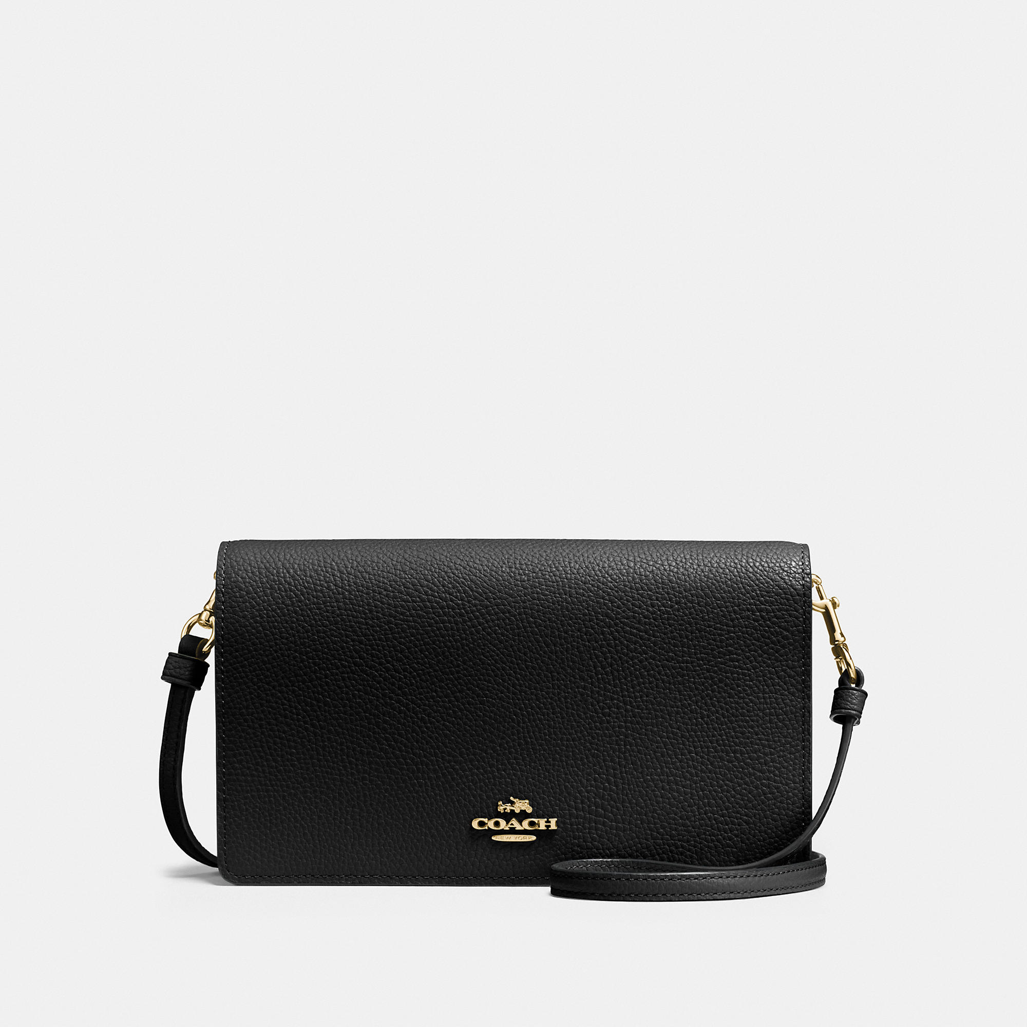 c6047cc22db3 Coach Foldover Crossbody Clutch In Polished Pebble Leather In Light  Gold Black