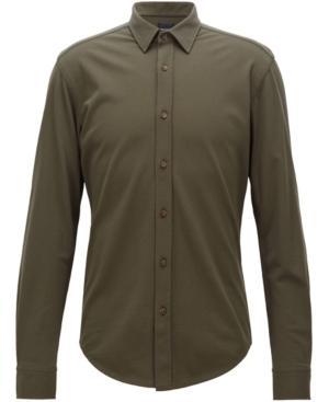 856f2a48e Hugo Boss Boss Men's Slim-Fit Cotton Shirt In Dark Olive   ModeSens