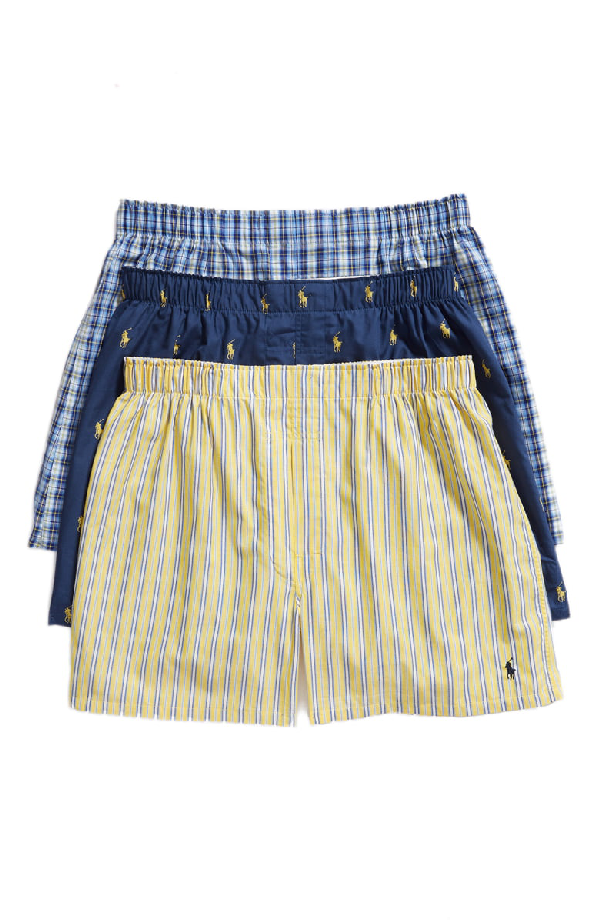 Cotton Boxers PkClassic Woven Navystripeplaid 3 Men's In IED29YHW