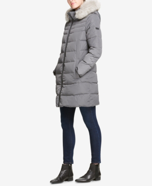 41d8aae63 Petite Faux-Fur-Trim Hooded Puffer Coat, Created For Macy's in Charcoal