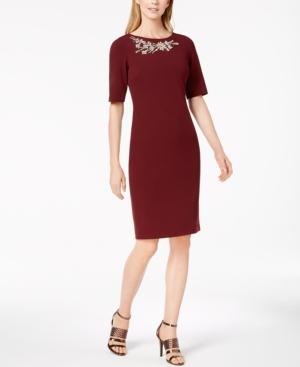 Calvin Klein Embellished Sheath Dress In Rosewood
