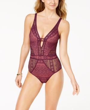 dfc4b02a6cd79 Scalloped lace conceals and reveals in all the right places of this plunging  bathing suit. Style Name  Becca Show   Tell One-Piece Swimsuit.