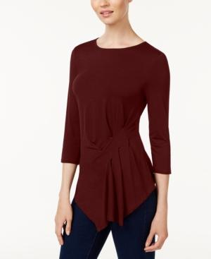Vince Camuto Gathered Asymmetrical Top In Cabernet